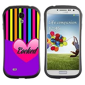 Suave TPU GEL Carcasa Funda Silicona Blando Estuche Caso de protección (para) Samsung Galaxy S4 I9500 / CECELL Phone case / / Heart Love Purple Colorful Lines /