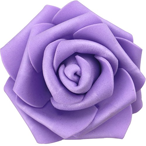 Lightingsky 7cm DIY Real Touch 3D Artificial Foam Rose Head Without Stem for Wedding Party Home Decoration (100pcs, Purple)