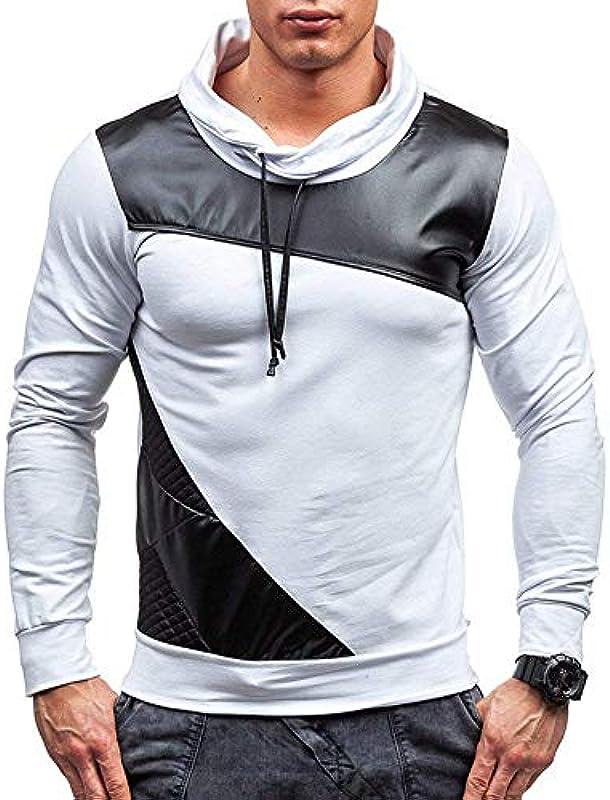 Męski sweter jesień zima długi rękaw moda topy odzież elegancki zwijany kołnierz luźny długi rękaw Slim Fit topy bluzy: Odzież