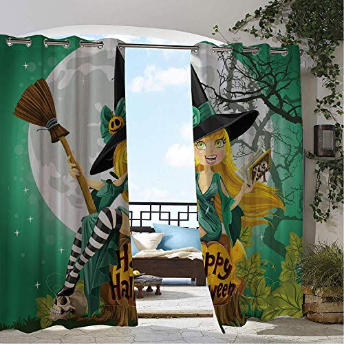 Patio Waterproof Curtain Witch Cheerful Smiling Girl in Halloween Costume on a Pumpkin Giant Moon Woodland Sea Green Multicolor pergola Grommets Decor Curtains 84 by 84 inch]()