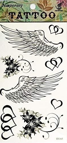 PP TATTOO 1 Sheet Temporary Tattoos Heart Flower Angel Wings Tattoos for Women Waterproof Transfer Tattoos