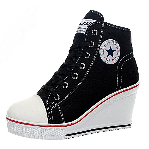 Padgene Women's Sneaker High-Heeled Fashion Canvas Shoes High Pump Lace UP Wedges Side Zipper Shoes ... Black (High Top Chuck Taylors With Skinny Jeans)