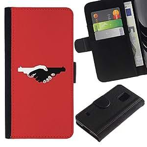All Phone Most Case / Oferta Especial Cáscara Funda de cuero Monedero Cubierta de proteccion Caso / Wallet Case for Samsung Galaxy S5 V SM-G900 // Guns Violence Deep Red Design Pistol