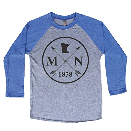 Heathered Raglan T-shirt (Homeland Tees Unisex Minnesota Arrow 3/4 Length Baseball Style Raglan T-Shirt Medium Blue/Black)