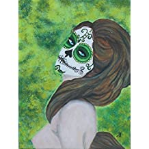 Giclee PRINT 11x14 Day of the Dead Lady Emerald Esmeralda Nude Sugar Skull Woman Mexican Hispanic Art Dia de los Muertos