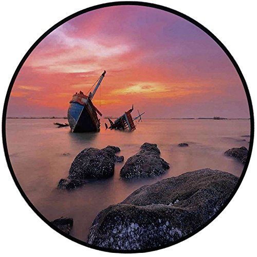 Printing Round Rug,Ocean Decor,Sunken Aground Boat Vessel in Foggy Water Before Exquisite Sky at Sunset Image Mat Non-Slip Soft Entrance Mat Door Floor Rug Area Rug for Chair Living Room,Orange Grey