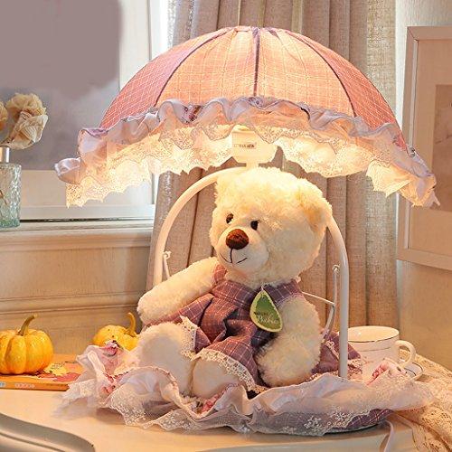 Kindertischlampe warme und schöne Prinzessin Zimmer Schlafzimmer Nachttischlampe Puppe Cartoon Mädchen kreative Spitze Tuch
