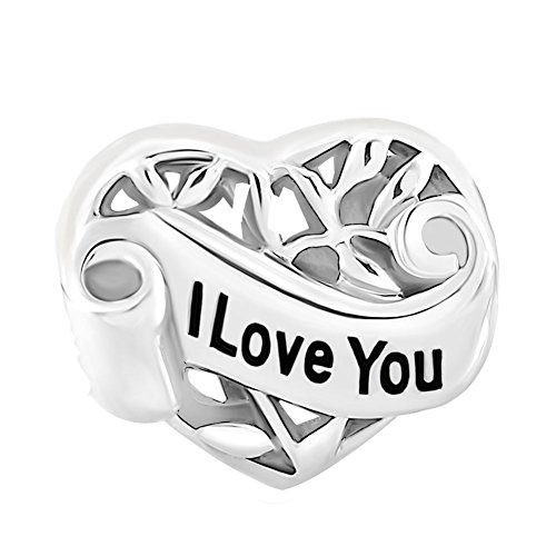 CoolJewelry Sterling Silver I Love You Aunt Charm Family Tree of Life Hollow Heart Beads