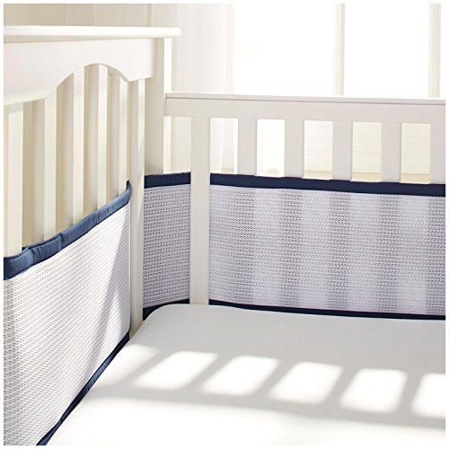 BreathableBaby Deluxe Breathable Mesh Crib Liner, Navy