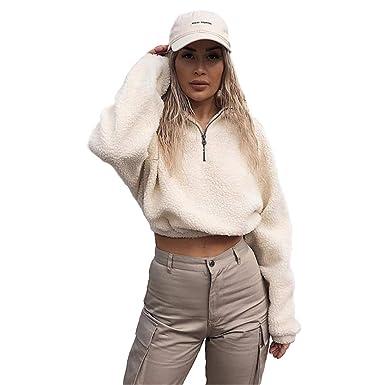 b73752d477a85 malianna Women Zipper Faux Lambswool Sweatshirts Turtleneck Ladies Hoodies  (S)