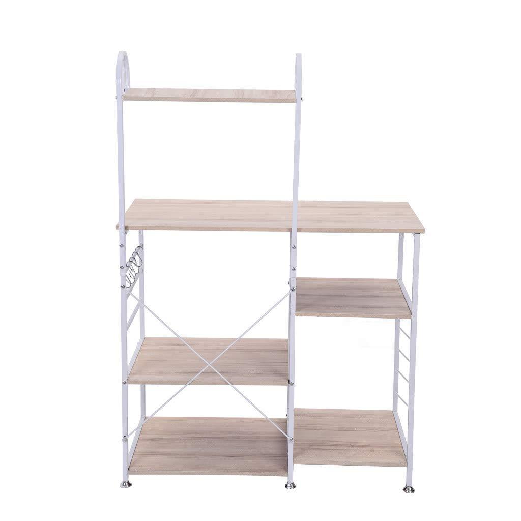 4-Tier+3-Tier Kitchen Bakers Rack - Utility Storage Shelf Microwave Stand Shelf Carts with Storage Organizer Workstation - Hanging Hooks & Spice Rack for Kitchen Storage - 【Ship from USA】 (White) by QIANSKY