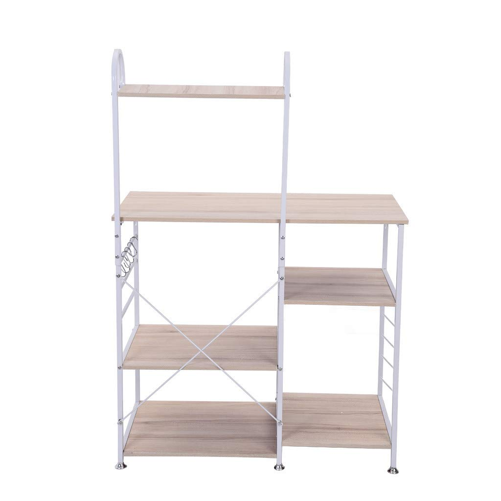 Dacawin-Household Kitchen Baker's Rack - Utility Storage Shelf - 35.5 Inch 4-Tier+3-Tier Shelf Multifunctional Microwave Rack - Oven Stand Storage Cart Workstation Shelf Cupboard (White, USA)