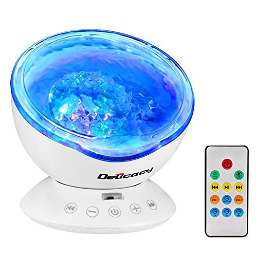 (Delicacy Ocean Wave Projector 12 LED Remote Control Undersea Projector Lamp,7 Color Changing Music Player Night Light Projector for Kids Adults Bedroom Living Room Decoration)
