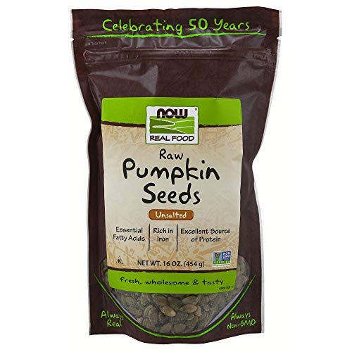 NOW Foods, Pumpkin Seeds, Raw and Unsalted, Essential Fatty Acids, Rich in Iron, Excellent Source of Protein, Certified Non-GMO, 1-Pound ()