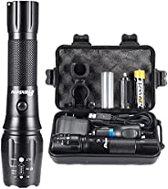 PHIXTON Rechargeable Flashlights, Tactical High Lumens L2 LED Flash Light, Portable Adjustable Aluminum Big To
