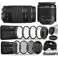 Canon EF-S 18-55mm III f3.5-5.6 Camera Lens and EF 75-300mm Lens Bundle for Canon Eos Rebel T5 T6 T5i T6i T7i T6s 1200D 1300D 600D 700D 60D 70D 80D