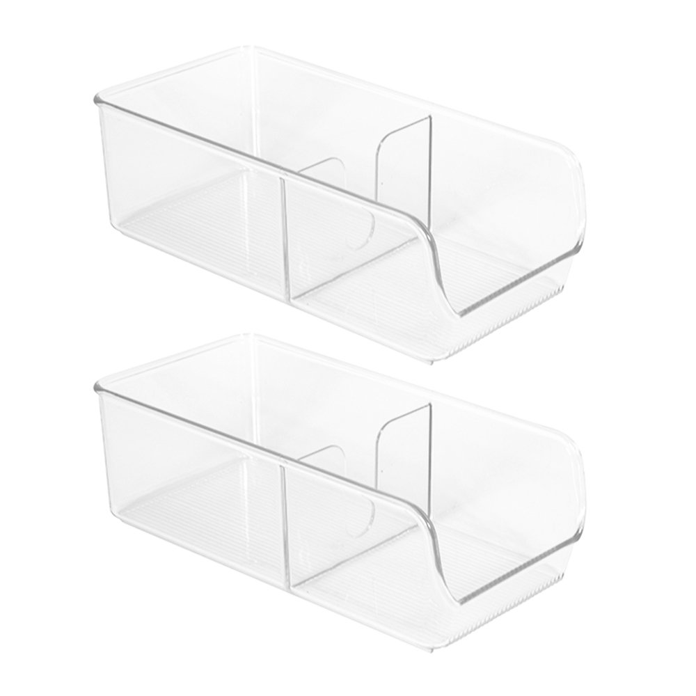 InterDesign Linus Spice Packet Organizer Bin for Kitchen Pantry, Cabinet, Countertops - Set of 2, Clear