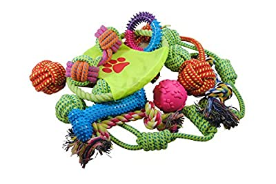 Mighty Ropes Dog Rope Toy Variety Pack- Dog Toys, Squeaky Ball, Durable Bones, Rope Frisbee, Rope Bones, and Chew Ropes from S & N Products