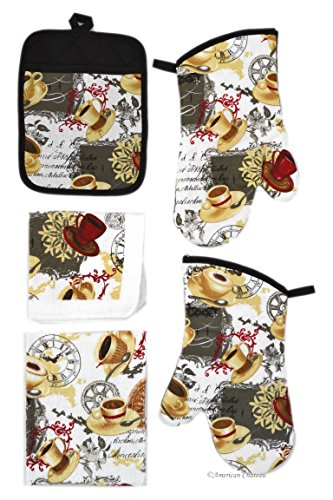 American Chateau Cafe Coffee Latte Kitchen 5pc Linen Towel Set-Towels Oven Mitts & Pot Holder ()