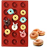 PERNY Mini Donut Pan, 18-Cavity Nonstick Silicone Donut Pan