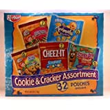 Cookies & Cracker assortment 32 pouches inside (6 Animal crackers/7 cheez-it/ 6 scooby-doo baked graham cracker sticks/ 7 fudge shoppe mini fudge stripes / 6 chips deluxe with rainbows) by Cookies & Cracker