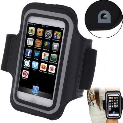Mxnet Funda de brazalete de los deportes con el agujero del auricular para el iPhone 5 y 5C y 5S Fundas ( Color : White ) Black