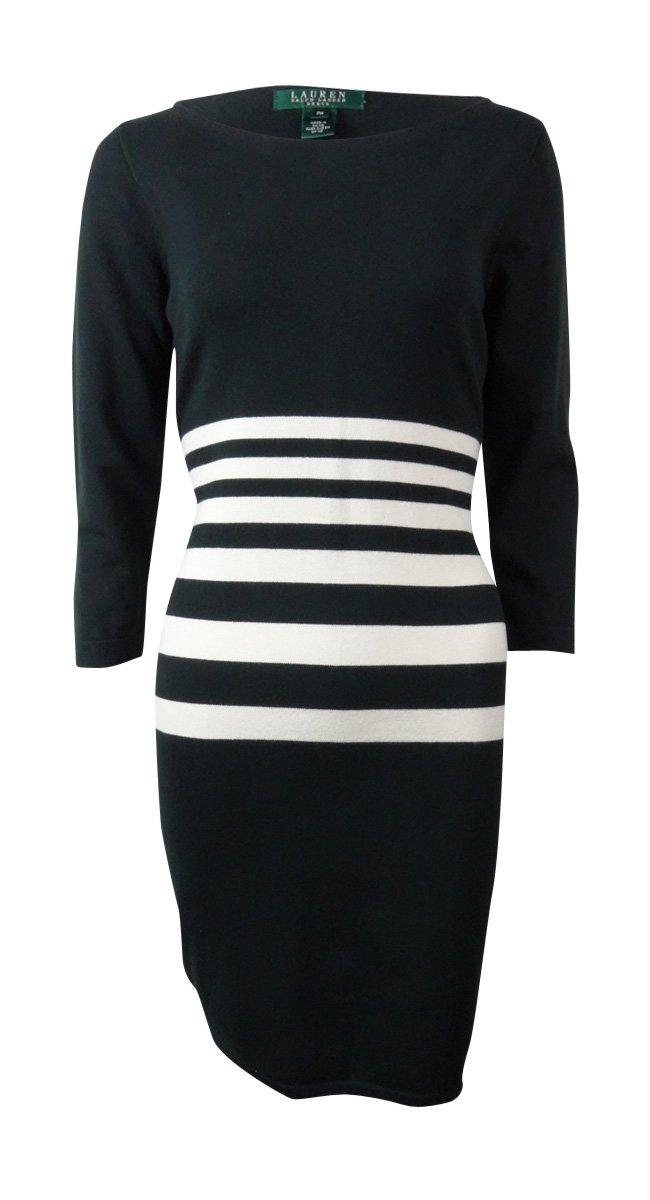 Lauren Ralph Lauren Womens Striped 3/4 Sleeves Sweaterdress B/W M