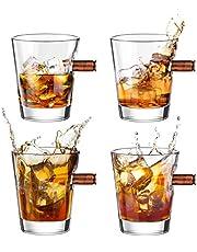 Kollea Bullet Whiskey Glasses .308 Bullet Glasses, Old Fashioned Whiskey Glass Set Whiskey Gift Idea for Men for Whisky, Scotch, Bourbon
