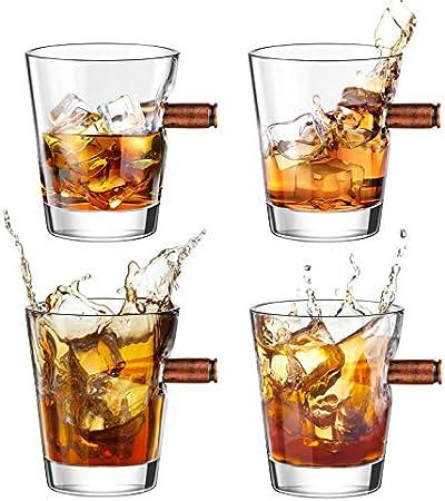 Vasos de Chupitos de Whisky Bala Juego de 4, Kollea Soplado a Mano Vasos de Chupitos Cristal con Base Pesada, Personalizados Juegos de Regalo de Vaso de Whisky para Hombres/ Papá/ Esposo - 60ML