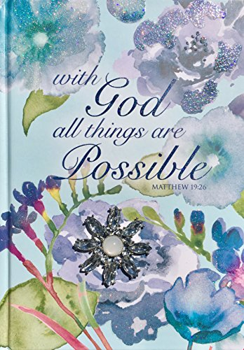 Notepad Possible (Pooch & Sweetheart Blue Floral Glitter Brooch Embellished Scripture Hardcover Journal, With God all things are Possible, Matthew 19:26 (74341))