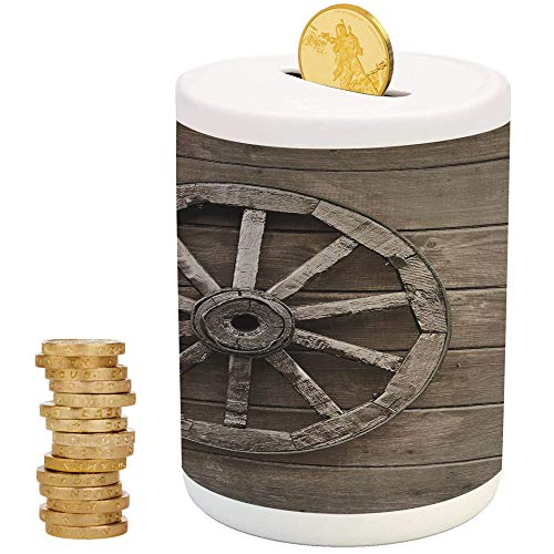 Barn Wood Wagon Wheel,Ceramic Child Bank,Printed Ceramic Coin Bank Money Box for Cash Saving,Antique Aged Carriage Vehicle Wheel on The Wall of Barn Grunge Western Decorative -