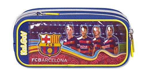 Offiziell lizensiertes ORIGINAL TEAMUNTERSCHRIFTEN & Spieler Bilder FC Barcelona Verbreiterung Federmäppchen / Schlampermäppchen mit 2 Taschen (!!)