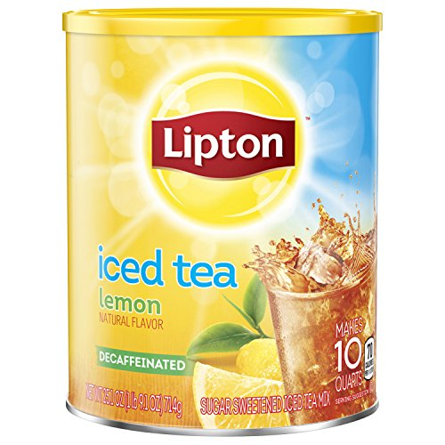 Lipton Black Iced Tea Mix Decaf Lemon Sweetened 10 qt, pack of 6 ()