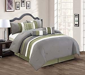 wonderful gray green bedroom bedding | Modern 7 Piece Bedding Sage Green / Grey / White Pin Tuck ...