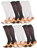Marvelous Copper Assorted Unisex Anti-Fatigation 6-Pack Compression Socks (L/XL)