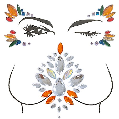 Nice Anself Big Classic Ceremony Face Breast Bling Gem Kit Temporary Tattoo Jewel Sticker for cheap