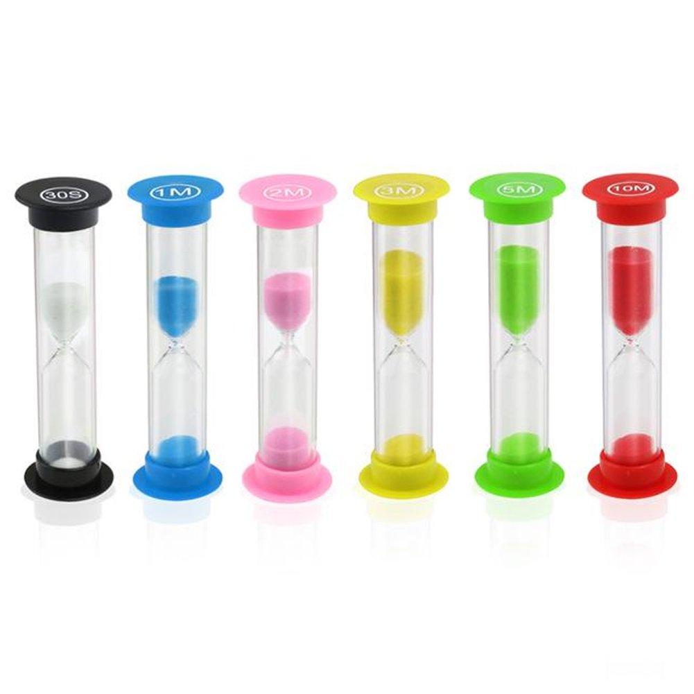 Exercising 6pcs//set Come da immagine Games Clessidra sabbia orologio timer 6pcs//set colorato Sandglass 30SEC//1/min//2/min//3/min//5/min//10/minuti Kids Christmas Gift for Kitchen Timing Cooking
