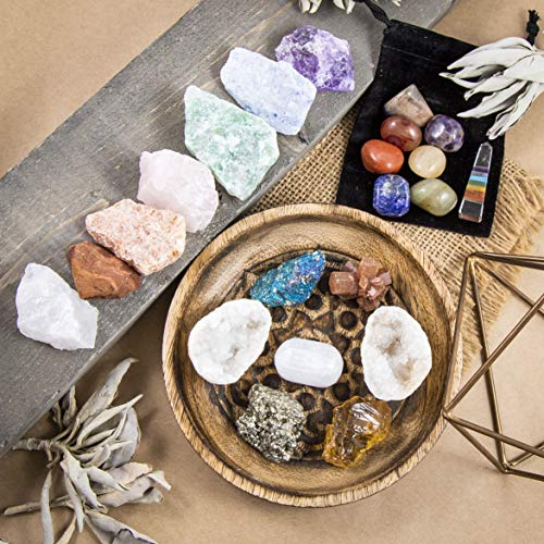 Beverly Oaks Premium Healing Crystals 21 Piece Kit - 7 Tumbled Chakra Stones, 7 Raw Crystals, Peacock Ore, Crystal Geode, Pyrite, Honey Calcite, Aragonite, Selenite Stone + Bonus Chakra Tower