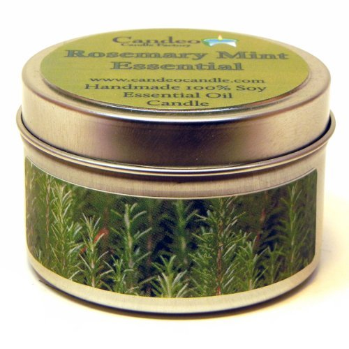 Rosemary Mint Essential Oil 4oz, Super Scented Soy Candle Tin by Candeo - Essential Tin Candle