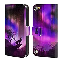 Head Case Designs Purple Howling Wolf Northern Lights Leather Book Wallet Case Cover For iPod Touch 5th Gen / 6th Gen