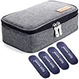 Insulin Travel Cooler Bag, Diabetic Organizer Medical case with ice Pack - Travel Kits Medical Cooler Epipen Case Portable and Reusable Grey (Medium)
