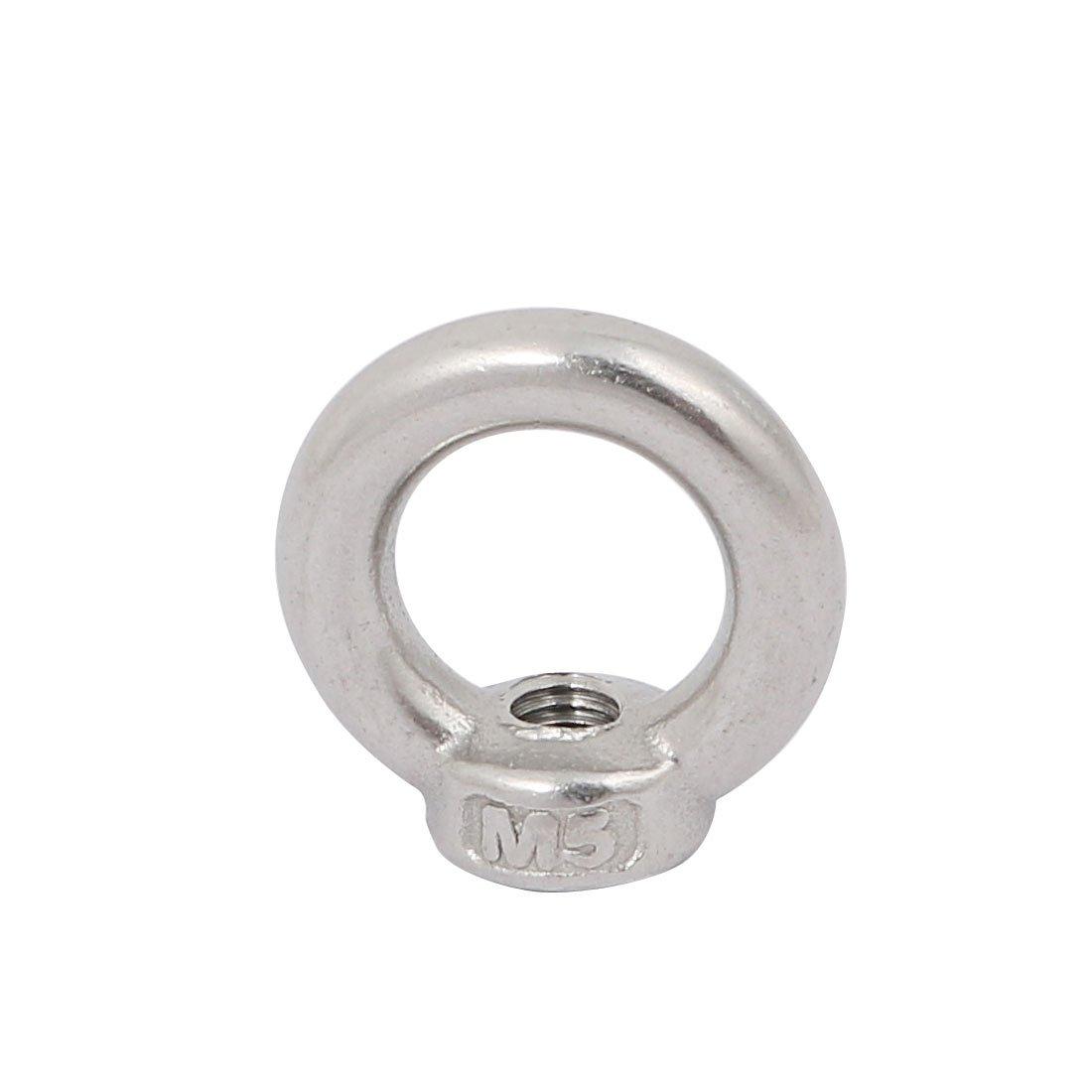 sourcing map M5 filettatura femmina 304 acciaio inox forma anello Occhio sollevamento dado 5pz.