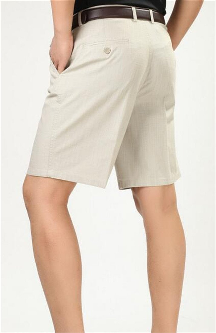 Pivaconis Mens Pleated Classic Fit Summer Casual Baggy Fit High Waist Shorts Khaki 36 by Pivaconis (Image #4)