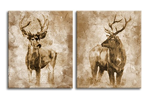Canvas Wall Art Deer Painting Giclee Prints for Home and Office Decoration - Vintage Elk Painting Canvas Prints Framed and Ready to Hang 20
