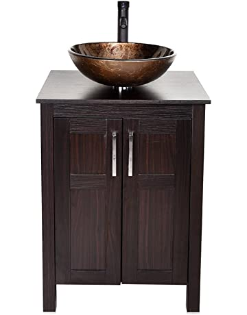 24 Inches Traditional Bathroom Vanity Set In Dark Coffee Finish Single Bathroom Vanity With Top