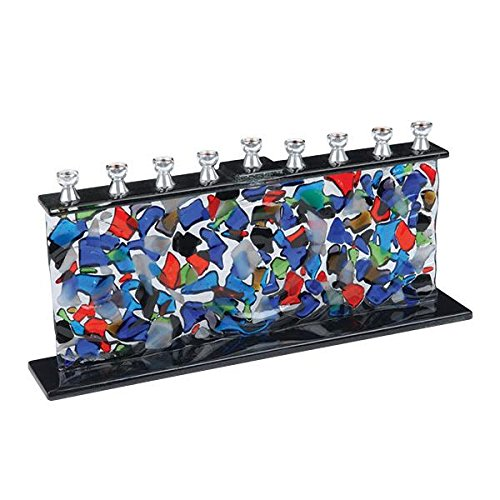 Fused Glass Menorah Multi Colored Crushed Shards