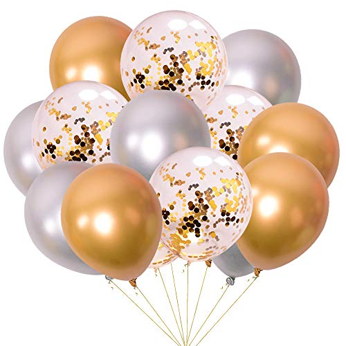 Jurxy 15 PCS Metallic Party Balloons Glossy Metal Pearl Latex Balloons 12'' with Confetti Balloon Inflatable Air Balloons for Birthdays, Bridal Shower - Gold and Silver