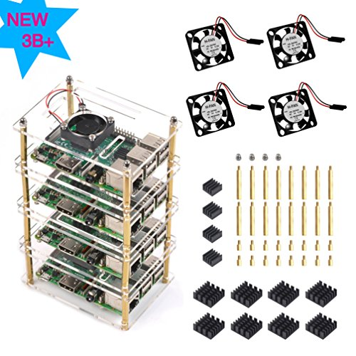 Multi Cut Cluster - Jun-Electron 4 Layers Clear Plate Acrylic Stackable Case for Raspberry Pi 3 Model B+ Case with Fan and Heatsink for Raspberry P