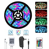 DAYBETTER Led Strip Lights 16.4ft 5M SMD 3528 RGB 300 LEDs Color Changing Kit Waterproof, Flexible Led Light Strips with Remote 12V Power Adapter Included for Bedroom, Home, Kitchen