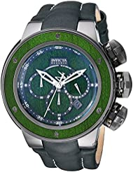 Invicta Mens Reserve Quartz Stainless Steel and Leather Casual Watch, Color:Green (Model: 24438)